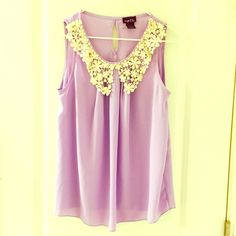 Spring crochet lace bib blouse top medium m Pretty Spring purple sleeveless blouse with cream colored crochet lace bib by Rue 21. Washed but unworn. Size medium. I take offers and bundle. No requests for trades or holds at this time please :) Rue 21 Tops Blouses