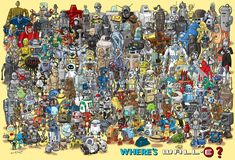 Richard Sargent challenges you to find Wall-E in his amazing illustration featuring dozens of robots.