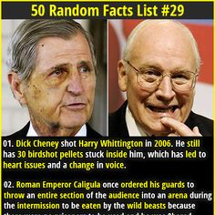"""1. Dick Cheney shot Harry Whittington in 2006. He still has 30 birdshot pellets stuck inside him, which has led to heart issues and a change in voice. 2.  British intelligence once executed """"Operation Cupcake"""" to hack an online al-Qaeda magazine, replacing bomb making instructions with a recipe for cupcakes."""