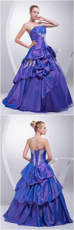 Special Purple Taffeta Lace Ruffles Ballgown Colored Wedding Dress