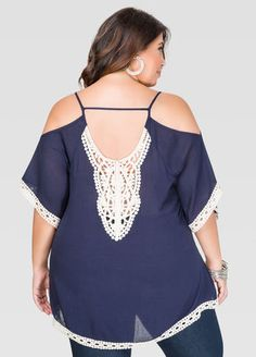 Plus Size Crochet Trim Cold Shoulder Top