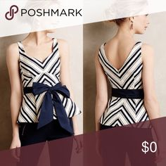 💎💙 MAEVE Mitered Striped Peplum Top 💙💎 💎💙 MAEVE Mitered Striped Peplum Top 💙💎 Neutral motif (blue and white). Super cute! Very flattering! Love the top but not the price? Make an offer! I happily accept all reasonable offers! 😊 {NWT} Anthropologie Tops Tank Tops