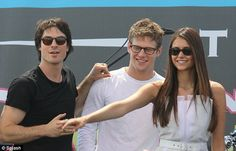 "To all my montpelier friends, I clicked on ""celebrities"", which I've never done before and here's Zach on the 7th post down....soo weird. The pinner said, ""Fan friendly: Ian Somerhalder, Zach Roerig and Nina Dobrev pose for fans at Comic-Con. Zach looks even more adorable in glasses :D"""