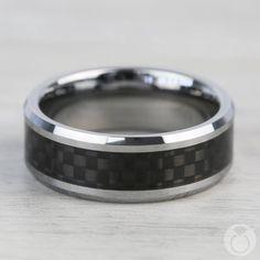 Tungsten Men's Wedding Ring with Black Carbon Fiber Inlay Mens Wedding Rings Tungsten, Black Rings, Diamond Wedding Bands, Halo Diamond, Morganite Ring, Carbon Fiber, Ring