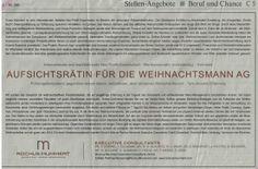 Gelungen! #Job #Jobs : Aufsichtsrätin für die Weihnachtsmann AG - Printanzeige #FAZ #Employerbranding