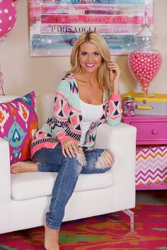 Sweet Talker Neon Cardigan from Closet Candy Boutique