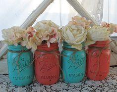 Set of 4 Pint Mason Jars Painted Mason Jars by RusticGlamDesigns