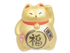 3-1/2 Inch Lucky Cat - Gold