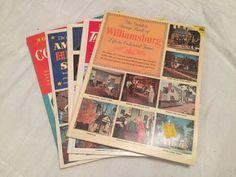 Lot 5 Vintage Golden Play Stamp Books 1953-1960 Transportation Costumes History