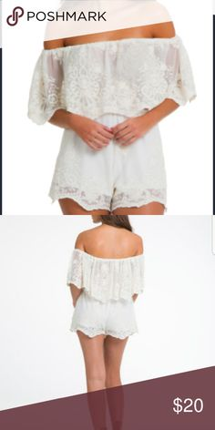 Elan White Scalloped Lace Romper NWT LG LAST ONE! LAST ONE!!! From Elan. Sweet, delicate lace detailing makes this lace romper the most romantic thing in your closet. Scalloped lace edging. Ivory white material. Fully lined. Elastic waist and shoulder.  ? NWT  Ships from N.Y.   Sz large fits up to a 12   ? Elan Pants Jumpsuits & Rompers