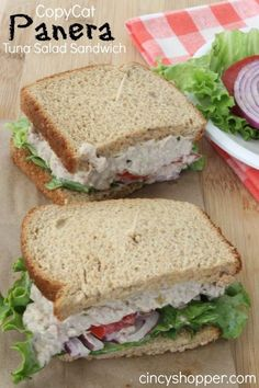 Panera Tuna Salad Sandwich Recipe- Great for lunch or dinner. Perfect sandwich to make at home this summer.CopyCat Panera Tuna Salad Sandwich Recipe- Great for lunch or dinner. Perfect sandwich to make at home this summer. Restaurant Recipes, Seafood Recipes, Cooking Recipes, Healthy Recipes, Healthy Foods, Diet Foods, Dinner Recipes, Cooking Cake, Alkaline Foods