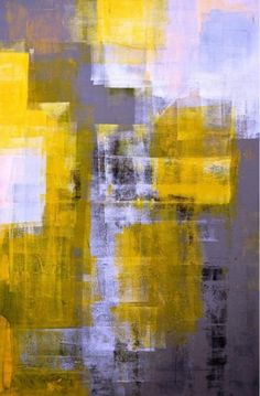 Grey and yellow abstract art| yellow décor ideas