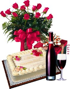 happy birthday flowers and wine - Hľadať Googlom Happy Birthday Ballons, Birthday Cake Gif, Happy Birthday Wishes Photos, Happy Birthday Cake Images, Happy Birthday Wishes Images, Happy Birthday Celebration, Happy Birthday Flower, Happy Belated Birthday, Birthday Wishes Cards