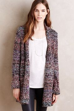 Ella Cardigan #anthropologie. I don't own any warm cardigans and could really use one. I like the straight hem and chunky knitt.