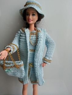 Top, Skirt, Coat, Hat & Purse - (no pattern) #