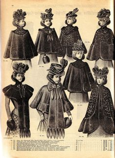 Vintage Ephemera: Victorian fashion plate, fur capes - 1900