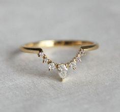 Diamond Wedding Band Diamond Crown Ring Curved by MinimalVS