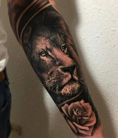 Amazing work by Want your tattoos posted? Click the link in my bio! Lion Head Tattoos, Leo Tattoos, Badass Tattoos, Animal Tattoos, Future Tattoos, Body Art Tattoos, Hand Tattoos, Lion Forearm Tattoos, Tatoos