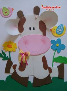 Vaquinha fofa em EVA Kids Crafts, Preschool Arts And Crafts, Foam Crafts, Activities For Kids, Diy And Crafts, Paper Crafts, Class Decoration, Art N Craft, General Crafts