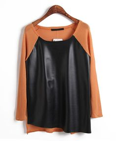 Orange Knit Top with Black PU Panel Front