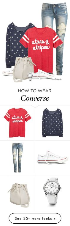 """""""Stars and Stripes"""" by kellyloveschristmas on Polyvore featuring Wet Seal, Converse, Nina Ricci and David Yurman"""