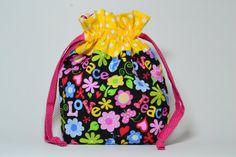 Peace & Love 2 At A Time Medium Interior Zipper Pocket Drawstring Sock Knitting Bag