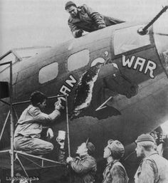 """birdspotter:  """"Man O War""""  B-17 Flying Fortress #NoseArt """"Check out the gloves-not a warm day!"""" KB"""