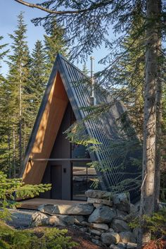 Tiny Cabins, Tiny House Cabin, Cabins And Cottages, Cabin Homes, A Frame House Plans, A Frame Cabin, Cabin Design, Tiny House Design, Triangle House