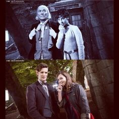 Then and now - same location, similar poses.  I love the 50th anniversary comparisons.