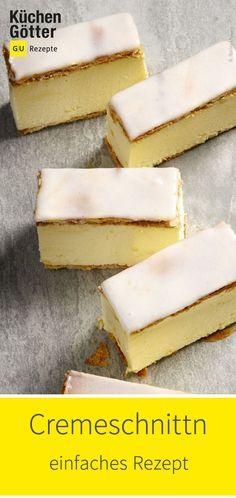 Tolles Rezept für österreichischen Cremeschnitten. German Cake, Sweet Bakery, Tea Time, Main Dishes, Desserts, Food Ideas, Cheesecake, Cupcakes, Snacks