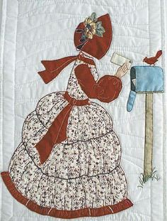 """#11 """"New Bonnet Girl Cousins""""   Victoria $6.50.  Victoria has red embroidery cardinal sitting on her mailbox. A scarf  that matches her bonnet blows in the wind."""
