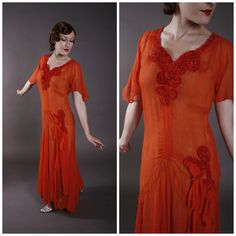 Vintage 1930s Dress - Sheer Silk Crepe Gown with Paneled Skirt and Shirred Velvet Accents