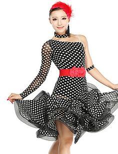 Novelty & Special Use Stage & Dance Wear Nice Led Costume Violet/red/black Ballroom Dress For Women Shoulder Strap Kaka Dance Dress Lotus Leaf Collar Disfraces Women
