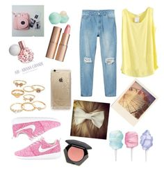 """""""spring colors make me happy"""" by amypaig on Polyvore featuring Monki, Eos, Cotton Candy, Manolo Blahnik, Charlotte Tilbury, H&M, Mudd and Rifle Paper Co"""