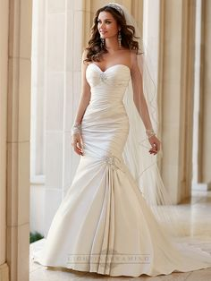 Embellishment Sweetheart Neckline Asymmetrical Ruched Fit and Flare Wedding Dresses - LightIndreaming.com