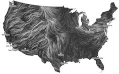 "This wind map is very cool. Click the image so you can watch it move. ""This map shows you the delicate tracery of wind flowing over the US r..."