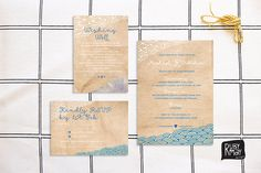 Beach Wedding Invitation, Rsvp, Wishing Well, Japanese Waves - Digital/printed…