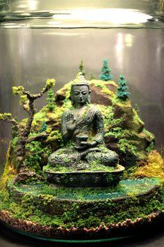 Antike Buddha-Zen-Garten Terrarium - Moos und Bonsai-Diorama