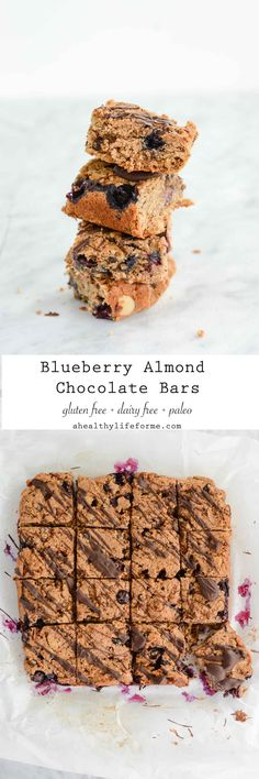 Blueberry Almond Chocolate Bars make a great breakfast bar or a delicious dessert. You can enjoy them guilt free because they are Gluten Free, Dairy Free, Paleo and Vegetarian made with healthy clean ingredients.- A Healthy Life For Me