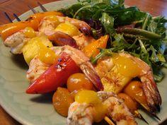 Grilled Shrimp Kebobs with Mango Lime Sauce