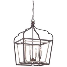 """Astrapia 18"""" Wide Rubbed Sienna 4-Light Foyer Pendant"""