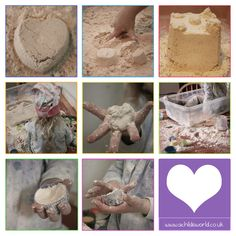 Cloud Dough   One of the most amazingly easy things you can make for your children. Just Flour + Oil makes this wonderful soft sensory play activity.   http://achildsworld.co.uk/2015/03/cloud-dough/