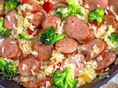 Smoked Sausage & Cheesy Rice - The Midnight Baker