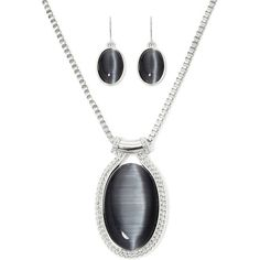 Mixit™ Simulated Gray Cat's Eye Oval Earring and Pendant Necklace Set (310 HNL) ❤ liked on Polyvore featuring jewelry, pendants & necklaces, cats eye jewelry, gray jewelry, mixit and oval pendant
