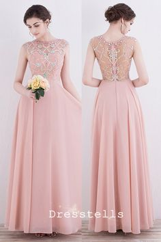 A-Line Round Neck Pearl Pink Chiffon Prom Dress with Beading Sequins ed8f675eb