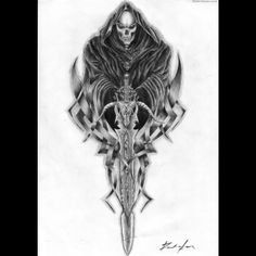 grim reaper tats | ... and the world of tattoos grim reaper grim reaper skull sleeve tattoo