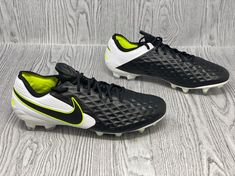 Nike Tiempo Legend 8 Elite FG Black/White/Volt Soccer Cleats AT5293-007 Size 4.5