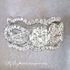Infinity knot Engagement Ring With Wedgin Matching by SillyShiny, $1799.00