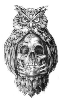 Papirouge tattoo drawings skull tattoo owl tattoo fine … – Картинки … - Famous Last Words Owl Skull Tattoos, Owl Tattoo Drawings, Tattoo Sketches, Leg Tattoos, Body Art Tattoos, Tattoos For Guys, Sleeve Tattoos, Tattoo Owl, Night Owl Tattoo