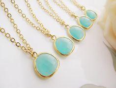SET of 10 Wedding Jewelry Bridesmaid Necklaces